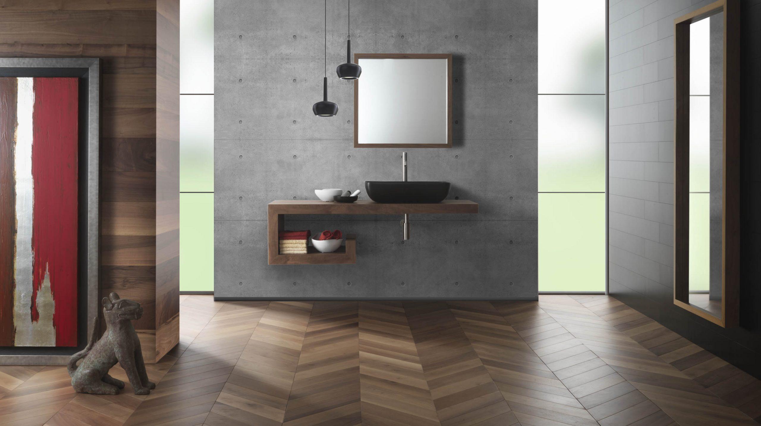 parquet in bagno in legno noce canaletto berti